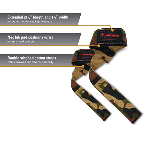 Harbinger Padded Cotton Lifting Straps with NeoTek Cushioned Wrist (Pair), Camo