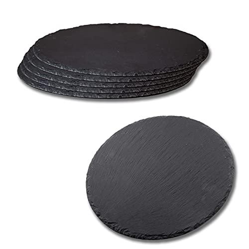 HANHAN Lot de 6 assiettes rondes en ardoise noire, en pierre naturelle, plateau en ardoise pour fromage, anti-repas, apéritif, sushis et autres (25 cm ronds)