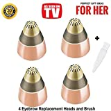 Eyebrow Hair Removal Replacement Heads for Women's Painless Eyebrows Hair Remover Trimmer, As Seen On TV, Count 4
