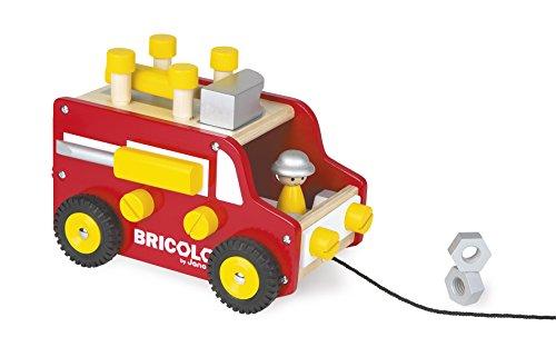 Janod J06490 - Redmaster Werkbank Wagen Nachziehbar (Inkl. 22 teile Zubehör)