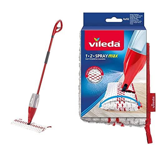 Vileda 1-2 Spray Max, Sistema Lavapavimenti Spray con Panno in Microfibra + Ricambio per mocio, Bianco, 1x Confezione