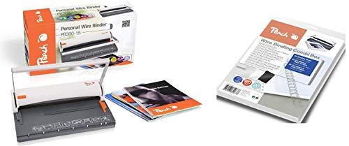 Peach PB300-15 Draht Bindemaschine   Personal Wire Binder Closer DIN-A4   Testsieger*   bindet 60 Seiten   8 mm Binderücken   6 Blatt Stanzkapazität & PW079-07 Drahtbindeset