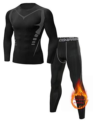 Sykooria Conjuntos Térmicos para Hombre Ropa Interior Térmica Invierno Camiseta Deporte Manga Larga y Pantalones Largos Esquí Fitness Ciclismo