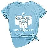 Blusa de manga corta para mujer con texto en inglés 'Come and TAKE IT' Azul azul XXXL