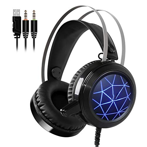 ruisonderdrukking LED over-ear pC-gaming headset (Noise Cancelling koptelefoon met microfoon) voor PC, PS4, Xbox One, Nintendo-Switch, Mac, laptop, smartphone USB-speelhoofdtelefoon (maat: B)