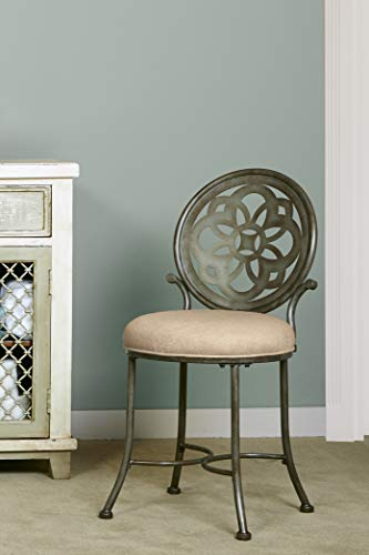 Hillsdale Furniture Marsala Vanity Stool, Gray with Brown highlighting with Cream Fabric