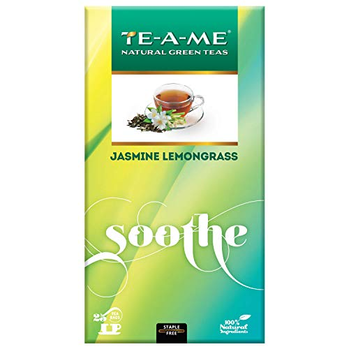 TE-A-ME Jasmine Lemongrass Natural Green Tea, 25 Tea Bags
