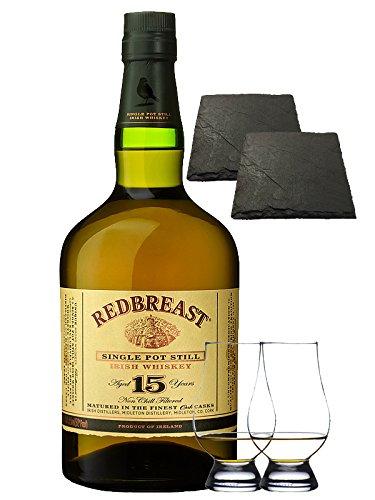 Redbreast 15 Jahre Single Pot Still 0,7 Liter + 2 Glencairn Gläser + 2 Schieferuntersetzer 9,5 cm