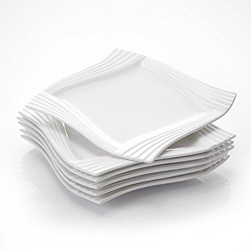 MALACASA, Serie Amparo, 6 teilig Set Cremeweiß Porzellan Flachteller Speiseteller Essteller 10 Zoll / 25,5x25,5x2 cm für 6 Personen