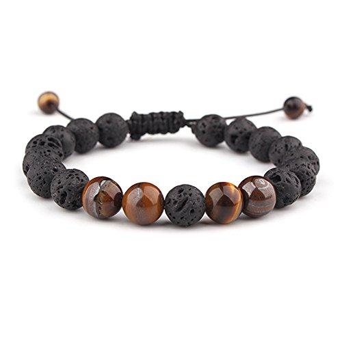 Celokiy Braided Calm Lava Rock Diffuser Oil Mens Bracelet for Women Adjustable - Meditation,Relax,Healing,Aromatherapy,Chakra,Yoga