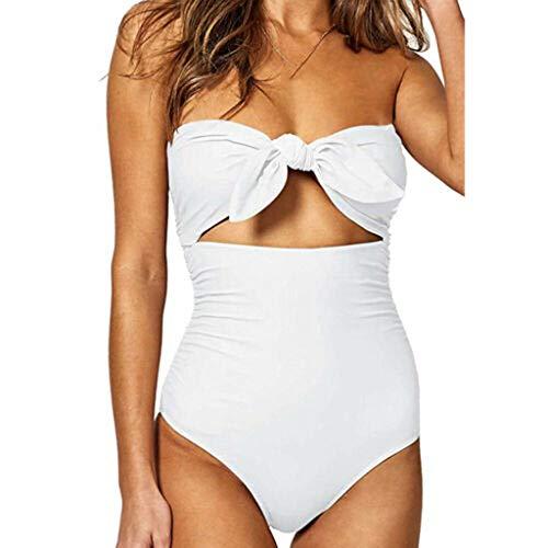 Bikinis Mujer 2019 SHOBDW Traje de Baño Mujer Una Pieza Vintage Bañadores de Mujer Sin Tirantes Push Up Bikinis Monokini Solid Arco Vendaje Bañador Espalda Descubierta(Blanco,XL)