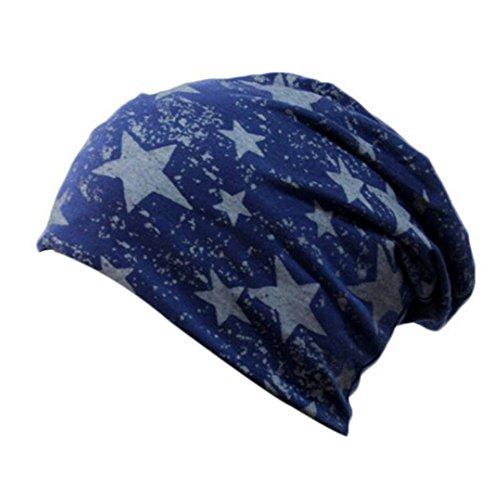 TININNA Mode Unisexe Hip-Hop Style Étoile Casquette en Coton Bonnet Chapeau Chaud Hat Cap pour Femme Homme Bleu Foncé