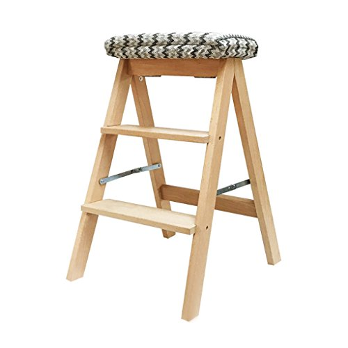 Chen- Creative Maison En Bois Massif Multi-usages Pliant Échelle Escalier Échelle Tabouret Intérieur Déplaçant Échelle Échelle Petite Échelle