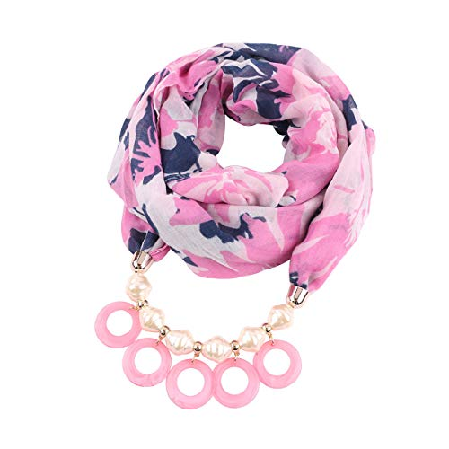 Scarfs Womens Unique Design Jewelry Scarf Stylish Necklace Scarf Elegant Scarves with Pendant (Style_320_color_BL)