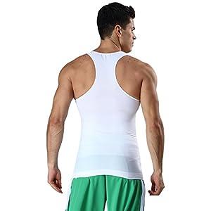 加圧インナー 工字 タンクトップ メンズ シームレス シャツ(品質保証) 腹を収束 補正下着 スリム 体型を正す 着圧コンプレッションウェア (ホヮィト, 2XL)