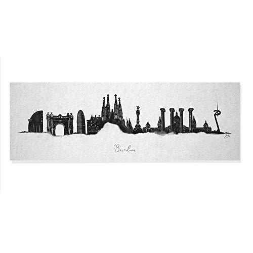 Arcoiris Home Skyline Cuadro Decorativo Barcelona, Blanco y Negro, 90x30 cm