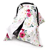Floral Car Seat Cover for Babies, Peekaboo Opening Minky Carseat Canopy for Newborn, Multiuse, Mom Nursing Breastfeeding Covers, Minky Blanket for Infant Toddler