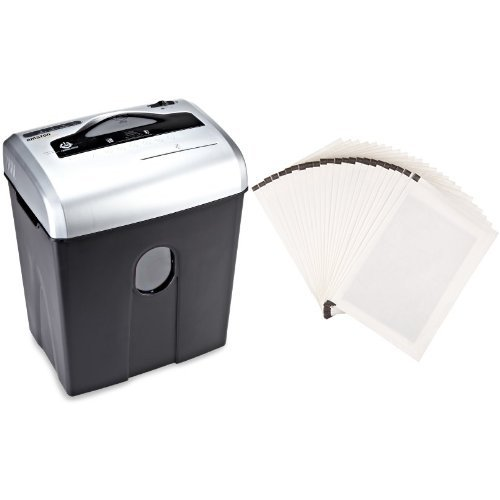 AmazonBasics 12-Sheet Cross-Cut Paper Shredder and Shredder Sharpening & Lubricant Sheets (Pack of 24) Bundle