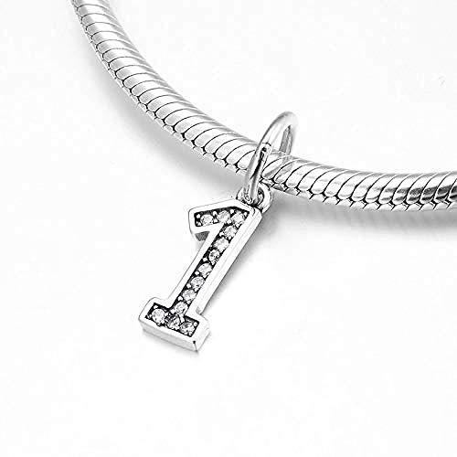 Zilveren Kralen Bedels,Mode 925 Sterling Zilver Nummer Nul Cijfer 0 Hangers Kralen Passen Originele Armband Sieraden Maken