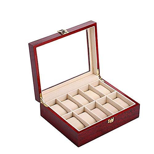 AJH Caja de Reloj de 6 Ranuras, Organizador de Vitrina de Reloj de Madera, Tapa de Cristal Grande, Caja de joyería, Caja de Reloj, Ajustable y sostenible, Cereza de 12 x 5 x 3 Pulgadas