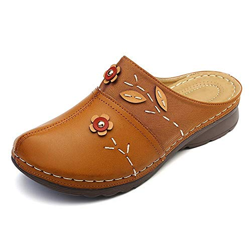 FAYHRH Zapatillas de casa de Verano Sandalias,Sandalias de Gran tamaño, Nuevas cuñas de Baotou de Verano-marrón_41