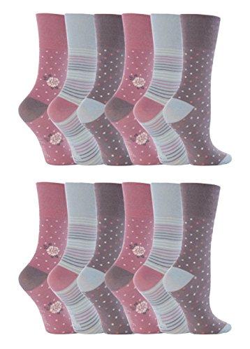 Gentle Grip - 12 Paar Damen Ges&heitssocken Diabetiker Druckfreie Spitze Handgekettelt Baumwollanteil Blumen Socken 37-42 eur (GG01)