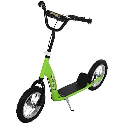 HOMCOM Patinete para Niños Mayores de 5 Años Scooter 2 Neumáticos Inflables de Caucho con Frenos Manillar Ajustable Pedal Antideslizante 117x52x80-85 cm Verde