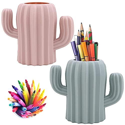 2 Piezas Porta Lápices para Bolígrafos, Portalápices de Escritorio, Organizador de Brochas de Maquillaje, Creativo Gracioso Forma de Cactus Titular de La Pluma para Escritorio, Tocador (Rosa, Verde)