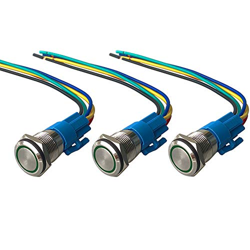 QitinDasen 3Pcs Premium 12V / 24V 5A Interruptor de Botón Momentáneo, 16mm Interruptor de Botón Metálico, LED Verde Interruptor Pulsador Impermeable IP67 con Enchufe de Cable