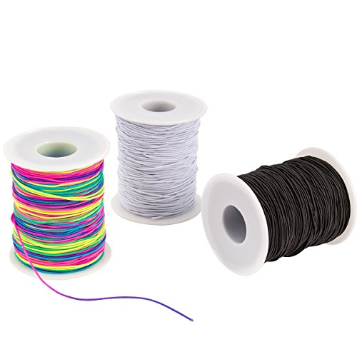 Apipi 3 Roll Elastic Cord Beading Threads Stretch String Fabric Crafting Cords- 328ft x 1mm Colorful Stretchy Bead Thread Christmas Gifts for Beading,Jewelry Making, Masks, Christmas DIY Crafting(MUL