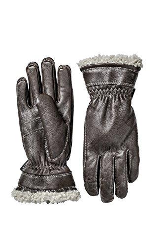 Hestra Lederhandschuhe, Primaloft dünne Winterhandschuhe, Dunkelbraun, 7