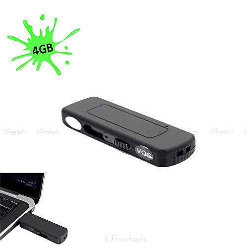 1neiSmartech Mini Grabadora De Audio Con Memoria Flash De 4 Gb, 70 Horas De Audio De Alta Calidad, Activación Por Voz, Micro Espía Y Pendrive Usb, Tecnología Vas Vox, Escucha De Pc O Mac