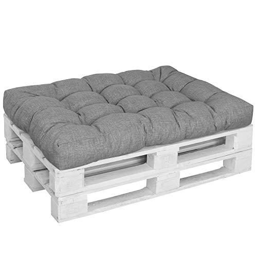 DILUMA | Palettenkissen Comfort Sitzkissen 120x80 cm Grau | Für Indoor/Outdoor, Wasserabweisend