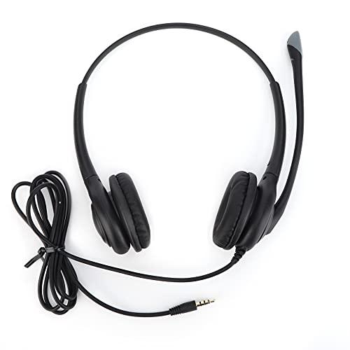 Auriculares para centro de llamadas con micrófono, resistentes auriculares para oficina de negocios con reducción de ruido VH618D, auriculares profesionales con cable binaural, para computadoras