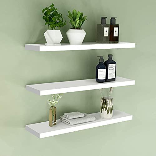 Juego de 3 estantes flotantes de pared, estantes de almacenamiento montados en la pared, estante de pared de madera para sala de estar, dormitorio, cocina, baño y más, color blanco