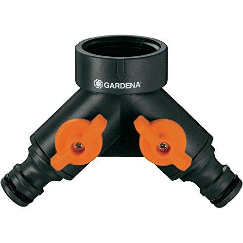 Gardena 940-26 940-26-Distribuidor Doble para grifos 20/27 y 26/34. 2 Ajustables con válvula de Cierre en Cada Salida, Estándar