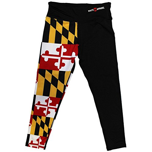 Route One Apparel Maryland Flag Half Side (Black) / Workout Capris (Medium)