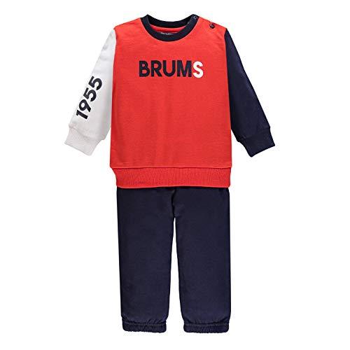 Brums Tuta 2 Pezzi con Felpa e Pantalone Abbinati, Bambino, Cotone, 3 Mesi, Rosso 724