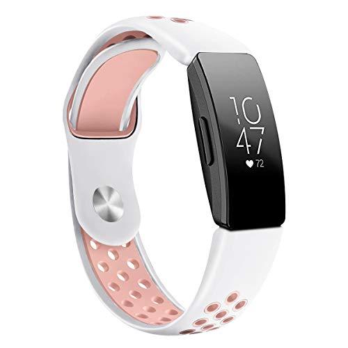 G-RF Bandas De Repuesto para Fitbit Inspire HR Reloj Pulsera De Silicona De Dos Colores (Grande,Blanco Rosa)