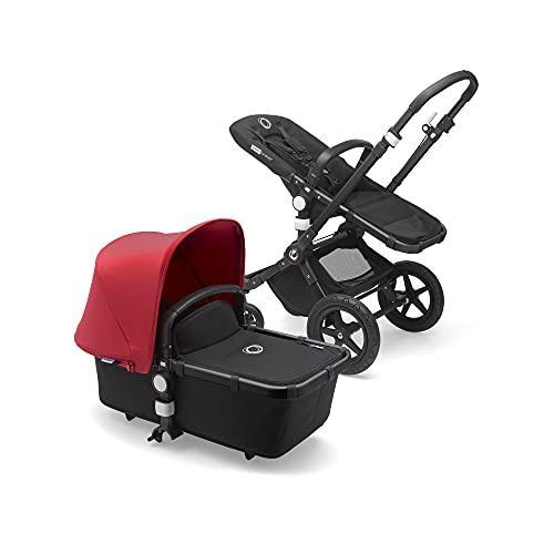 Bugaboo Cameleon 3 Plus, sistema de viaje 2 en 1 fácil y versátil: silla de paseo, carrito confortable con capazo, desde el nacimiento y hasta los 4 años, chasis negro y capota roja