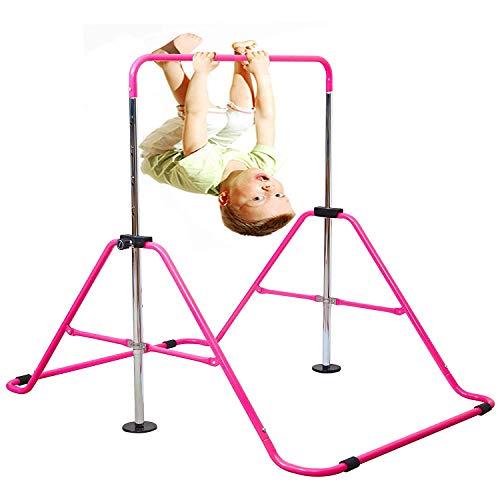 Jolitac Turnreck Gymnastik Kinder Garten Reck Reckanlage Turnstangen Horizontale Training Bar Trainingsgeräte Outdoor Fitness Höhenverstellbar (Rosa)