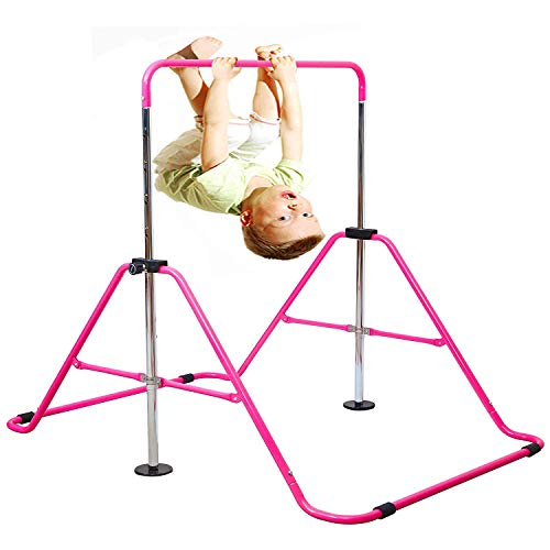 Photo of Expandable Gymnastics Bars Junior Training Bar Adjustable Height Gymnastic Horizontal Bars Children Folding Training Monkey Bars Child Gym Climbing Tower Kip Balance Bar for Kids (Pink)