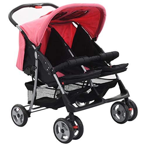 Festnight Baby Zwillingswagen Klappbar Zwillingskinderwagen Kinderwagen für Babys und Kleinkinder, Regenschutzhaube Rosa und Schwarz Stahl
