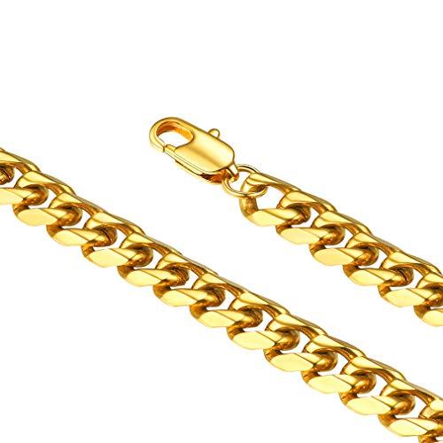 FaithHeart Edelstahl Panzerkette Kette von Halsketten für Herren 5mm breit, 24in für Erbskette Halskette