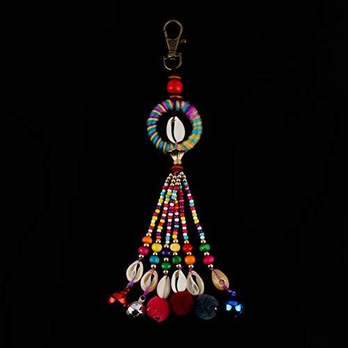 WANGWL 1 StückStrandMuschel Lange Farbige Perlen Pompon Ball Quaste Charme Schlüsselbund für Frauen Schlüsselbund Tasche Schmuckstück