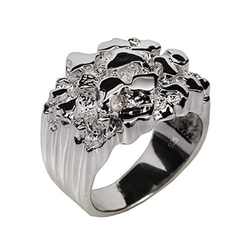 Harlembling Solid 925 Sterling Silver Men's Silver Ring - Nugget Ring - Pinky or Ring Finger - Sizes 7-13 (11)