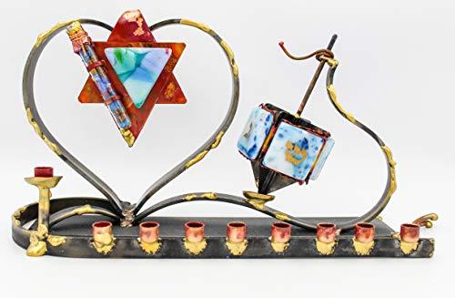 Gary Rosenthal Wedding SCULPTURAL Dreidel Menorah - Wedding Glass - Handmade Approximately 6' X 13' X 4.5'