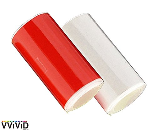 VViViD Headlight & Taillight Adhesive Repair Tape 1.8 Inches x 7 Feet Red and Transparent 2-Roll Pack