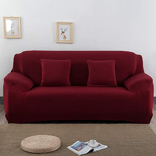 3-Sitzer Sofa Überwürfe in Weinrot Capalta Blume Sofabezug Sofa Überwürfe Sofahusse 190-230cm