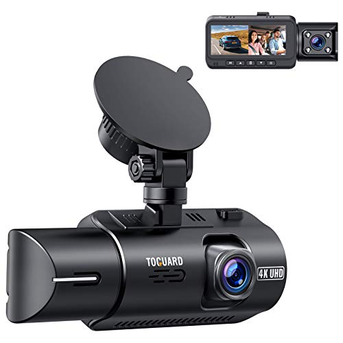 """TOGUARD Dual Dash Cam 4K Front and 1080P Inside Cabin GPS In Car Dashboard Camera 3.2"""" IPS Screen Dashcam for Cars with IR Night Vision, 320° Wide Angle, G-Sensor, Parking Monitor, Support Max 256GB"""